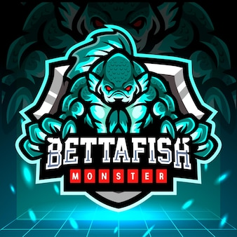 Mascote do monstro do peixe betta. design do logotipo esport