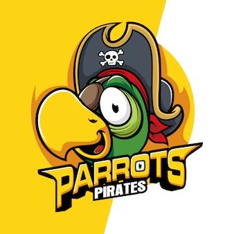 Mascote do pássaro da cabeça dos papagaios dos piratas