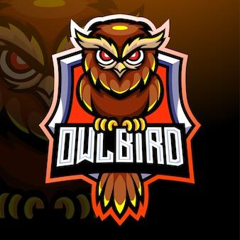 Mascote do pássaro da coruja. design do logotipo esport