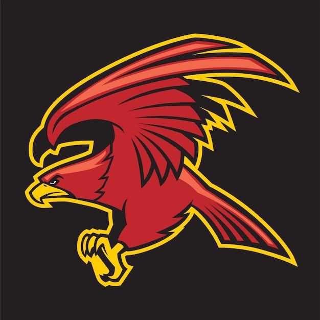 Mascote do pássaro de águia vermelha