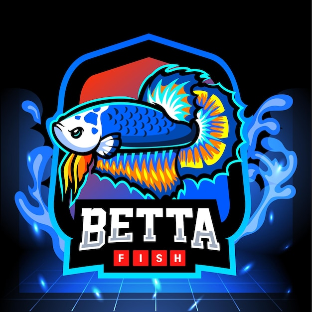 Mascote do peixe betta panda azul. design do logotipo esport