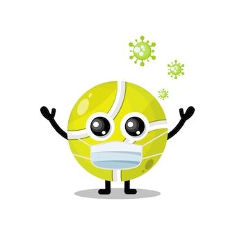 Mascote do personagem bonito do vírus da máscara da bola de tênis