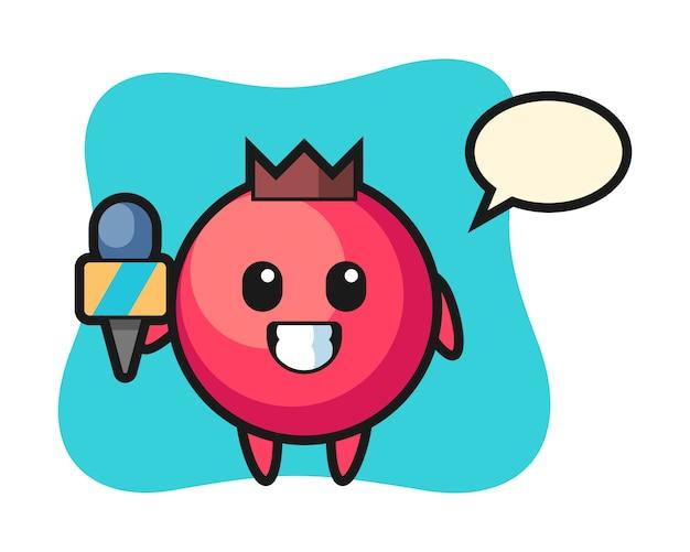Mascote do personagem cranberry como repórter de notícias, estilo fofo, adesivo, elemento de logotipo