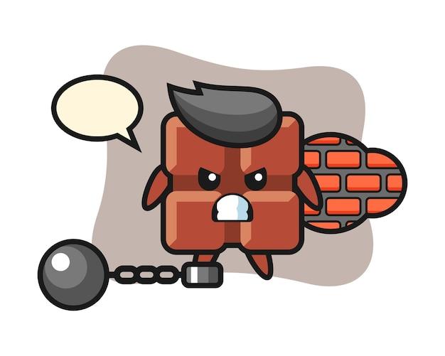 Mascote do personagem da barra de chocolate como um prisioneiro, estilo kawaii bonito.