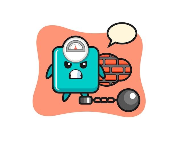 Mascote do personagem da escala de peso como um prisioneiro, design de estilo fofo para camiseta, adesivo, elemento de logotipo