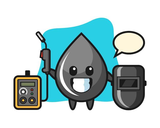 Mascote do personagem da gota de óleo como soldador