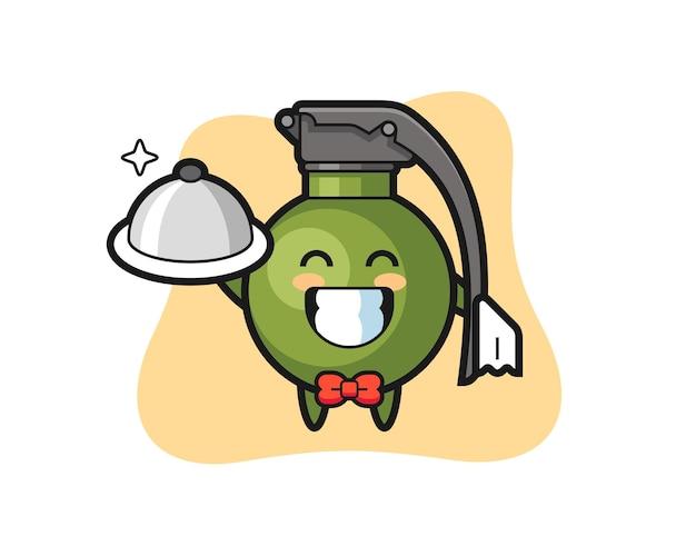 Mascote do personagem da granada como garçom, design de estilo fofo para camiseta, adesivo, elemento de logotipo