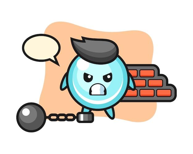 Mascote do personagem de bolha como um prisioneiro, design bonito estilo