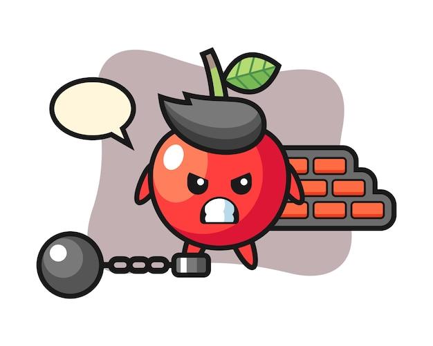 Mascote do personagem de cereja como um prisioneiro, design de estilo bonito