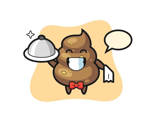 Mascote do personagem de cocô como garçom, design de estilo fofo para camiseta, adesivo, elemento de logotipo