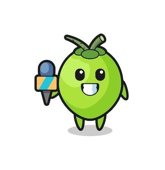 Mascote do personagem de coco como repórter de notícias, design de estilo fofo para camiseta, adesivo, elemento de logotipo