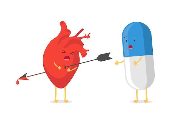 Mascote do personagem de coração bonito dos desenhos animados perfurado sendo baleado pela emoção triste de emoji de seta e pílula de comprimido de remédio surpresa. ilustração em vetor órgão circulatório não correspondido tratamento agonia de amor