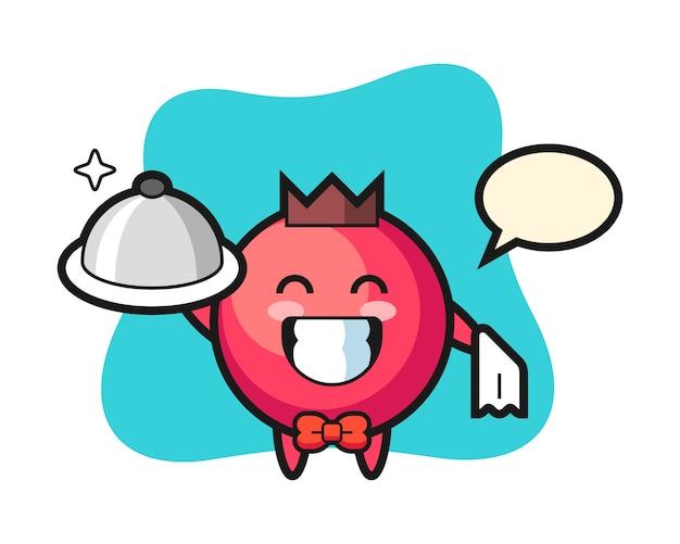 Mascote do personagem de cranberry como garçom, estilo fofo, adesivo, elemento de logotipo