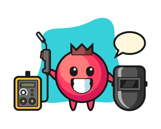 Mascote do personagem de cranberry como soldador, estilo fofo, adesivo, elemento de logotipo
