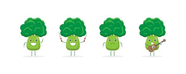 Mascote do personagem de desenho animado de brócolis fofo