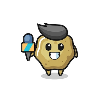 Mascote do personagem de fezes soltas como repórter de notícias, design de estilo fofo para camiseta, adesivo, elemento de logotipo
