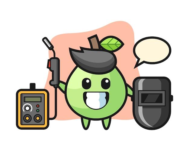 Mascote do personagem de goiaba como soldador, design de estilo bonito para camiseta, adesivo, elemento do logotipo