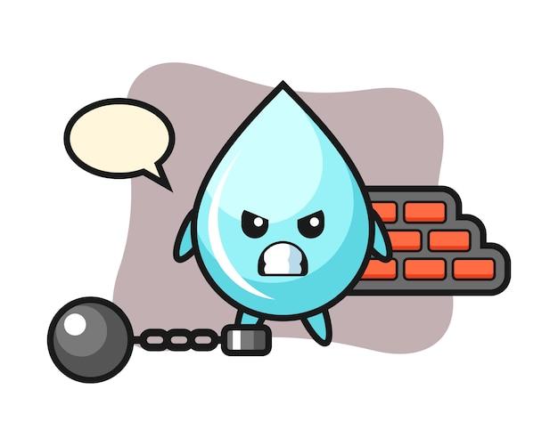 Mascote do personagem de gota de água como um prisioneiro, design de estilo bonito para camiseta
