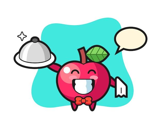 Mascote do personagem de maçã como garçons