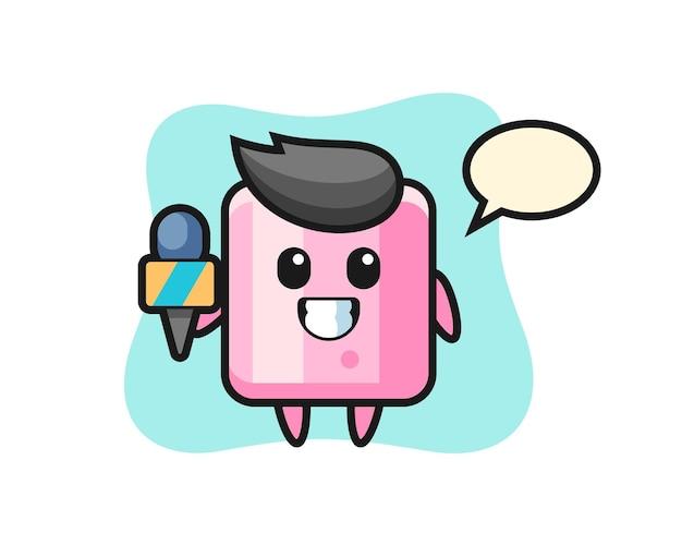 Mascote do personagem de marshmallow como repórter de notícias, design de estilo fofo para camiseta, adesivo, elemento de logotipo