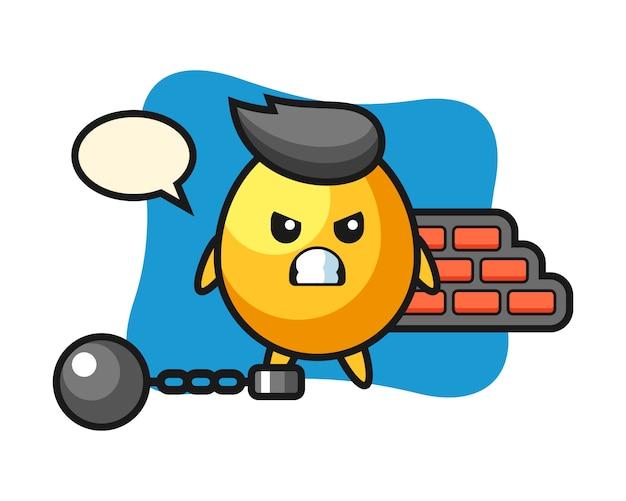 Mascote do personagem de ovo de ouro como um prisioneiro, design de estilo bonito