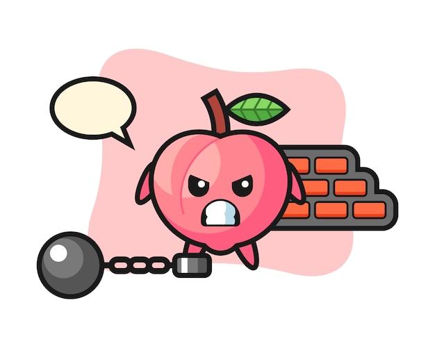 Mascote do personagem de pêssego como um prisioneiro, design de estilo bonito para camiseta