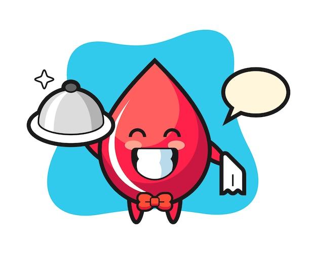 Mascote do personagem de sangue cai como um garçom, estilo fofo, adesivo, elemento de logotipo
