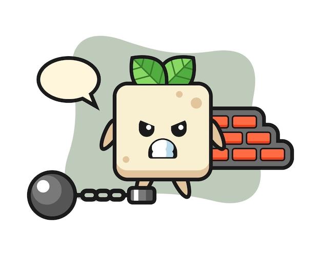 Mascote do personagem de tofu como prisioneiro, design de estilo bonito para camiseta