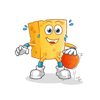 Mascote do personagem do basquete de queijo drible