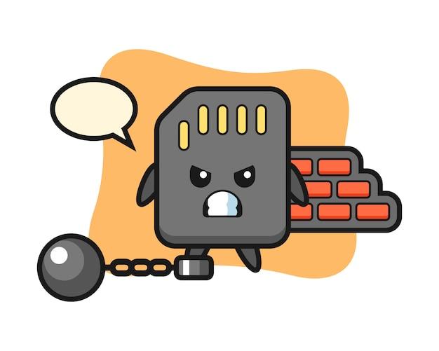 Mascote do personagem do cartão sd como um prisioneiro, design de estilo bonito para camiseta