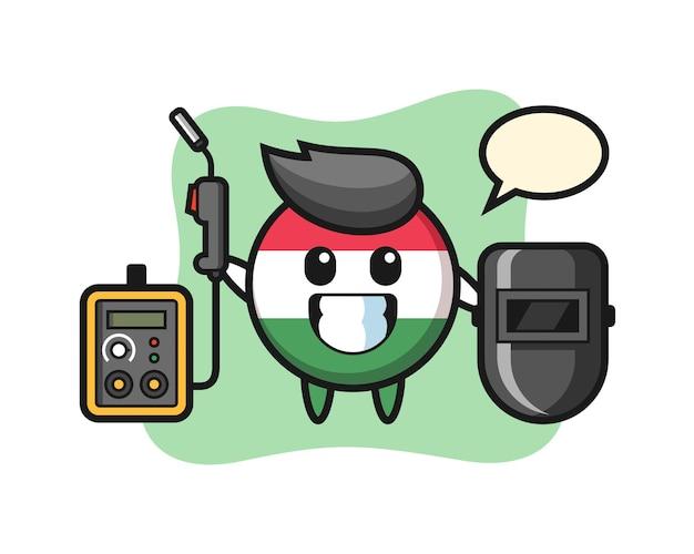 Mascote do personagem do distintivo da bandeira da hungria como soldador, design de estilo fofo para camiseta, adesivo, elemento de logotipo