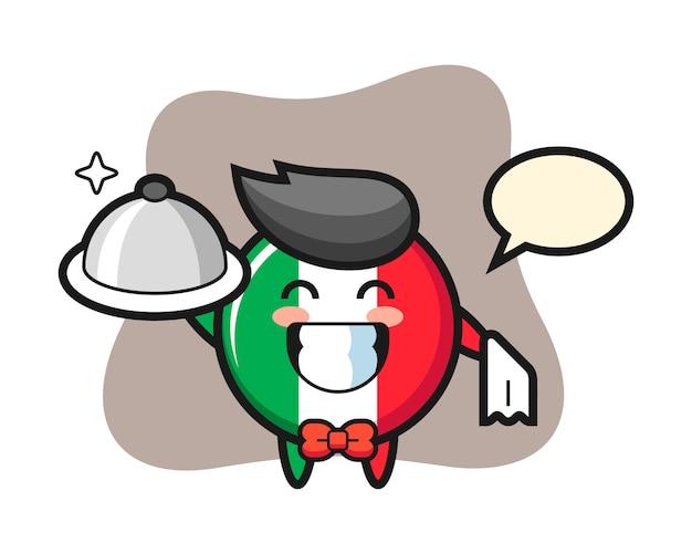 Mascote do personagem do distintivo da bandeira da itália como garçom, estilo fofo, adesivo, elemento de logotipo