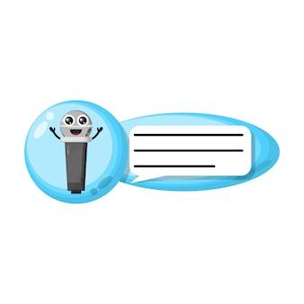 Mascote do personagem fofinho do bate-papo do microfone