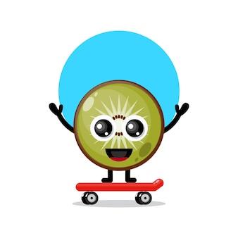 Mascote do personagem fofinho do kiwi no skate