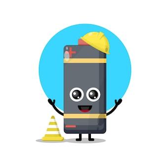 Mascote do personagem fofo da bateria do trabalhador da construção civil