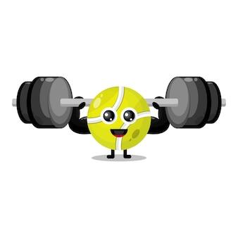 Mascote do personagem fofo da bola de tênis fitness
