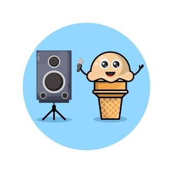 Mascote do personagem fofo do karaokê de sorvete