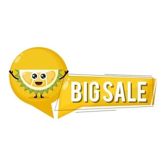 Mascote do personagem fofo durian em grande liquidação
