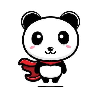 Mascote do personagem super-herói panda fofo