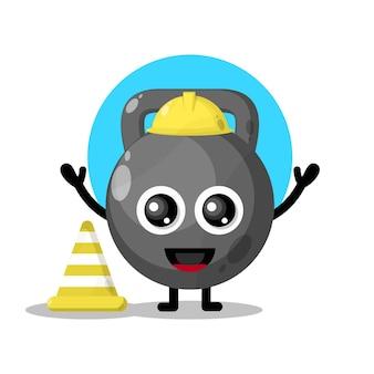 Mascote do personagem trabalhador da construção civil kate ball