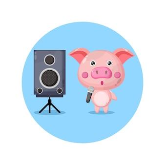 Mascote do porco karaokê fofo