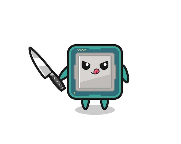 Mascote do processador fofo como um psicopata segurando uma faca, design de estilo fofo para camiseta, adesivo, elemento de logotipo