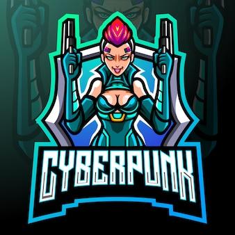 Mascote do punk cibernético. logotipo esport