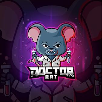 Mascote do rato médico químico com logotipo colorido