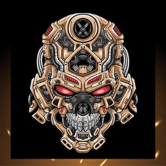 Mascote do robô de cabeça de crânio.
