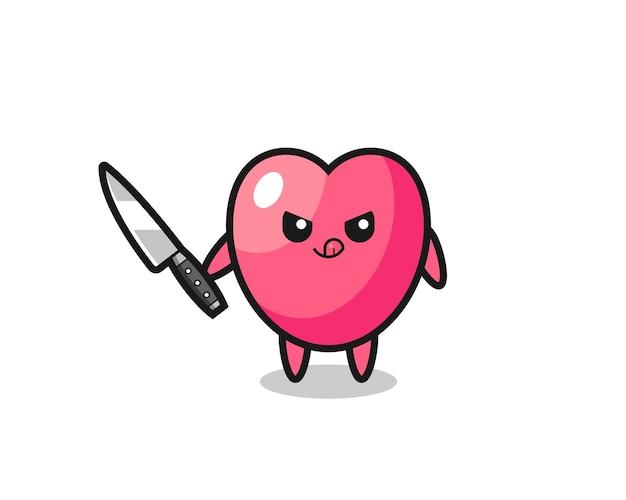 Mascote do símbolo do coração fofo como um psicopata segurando uma faca, design de estilo fofo para camiseta, adesivo, elemento de logotipo