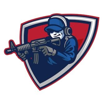 Mascote do soldado mirando o rifle de assalto