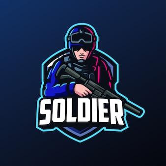 Mascote do soldado para o logotipo de esportes e esports
