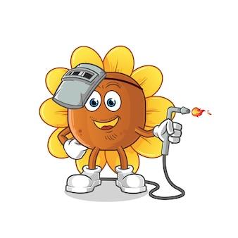 Mascote do soldador de flores do sol