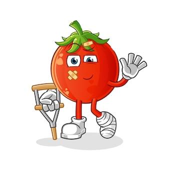 Mascote do tomate doente com pau mancando